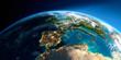 Leinwandbild Motiv Detailed Earth. Spain and the Mediterranean Sea