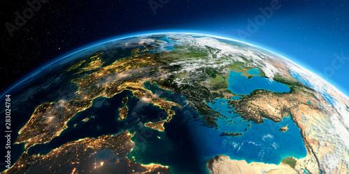 Detailed Earth. Europe. Mediterranean Sea Wallpaper Mural