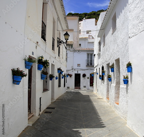 Bright blue plant-pots with Geraniums on white-washed houses, Spain