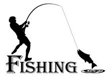Fishing. Fisherman,clip Art Black Fishing On White Background - Vector