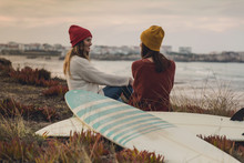 Surfer Girls At The Beach