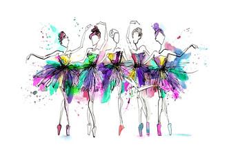 Watercolor silhouettes of ballerinas. Bright spray. Dance. Bright spots, ball...