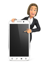 3d Business Woman Pointing To ...