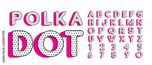 Photo Cute polka dots 3D english alphabet letters set