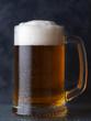 Beer mug with light beer on dark background