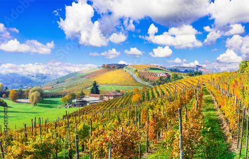 Foto  Beautiful autumn landscape with vineyards in Tuscany