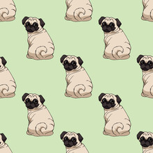 Seamless Pattern With Cute Pug...