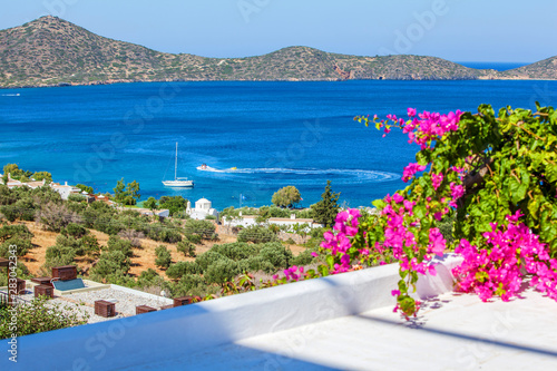 Panoramic view of the town Elounda, Crete, Greece. Canvas Print