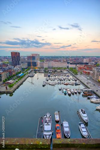 In de dag Antwerpen Aerial view of the Port of Antwerp in Antwerp, Belgium.