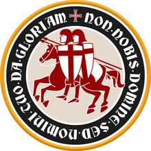 Templar Circular Emblem With Latin Text, Knights And Cross.