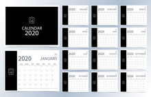 Business Calendar 2020.Dark Black Monthly Calendar Can Be Used For Printable Graphic And Website