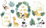 Fototapeta Fototapety na ścianę do pokoju dziecięcego - Safari object set with monkey,giraffe,zebra,lion,leaves. illustration for logo,sticker,postcard,birthday invitation.Editable element