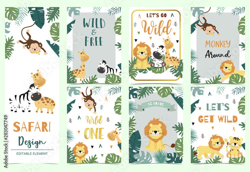 Green,gold collection of safari background set with lion,monkey,giraffe,zebra,geometric vector illustration for birthday invitation,postcard,logo and sticker.Wording include wild one,wild and free - fototapety na wymiar