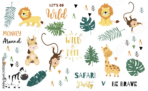 Safari object set with monkey,giraffe,zebra,lion,leaves. illustration for logo,sticker,postcard,birthday invitation.Editable element - 283047780