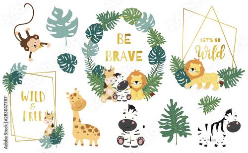 Safari object set with monkey,giraffe,zebra,lion,leaves Canvas Print