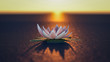 a mysterious lotus flower in the sunset (3d rendering)