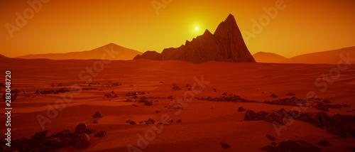 Foto auf AluDibond Violett rot a great day on Mars (3d rendering)