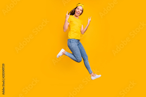 Full body photo of beautiful lady jumping high rejoicing at metal concert wear c Fototapet