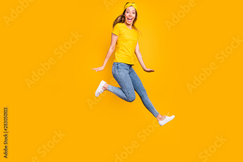 Fototapety, obrazy: Full body photo of beautiful lady jumping high wear casual clothes isolated yellow background