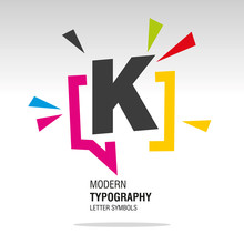 K Modern Typography Letter Sym...