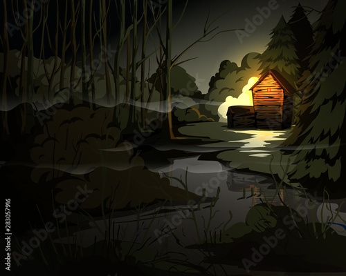 Garden Poster Fantasy Landscape Creepy forest landscape with trees, swamp, old house and light in window. Mysterious scenery background. Vector illustration