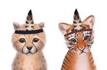 Cute Animals Bundle.  Hand Drawn Baby Cheetah And Tiger. Perfect For Nursery Rooms. Boho Style, Feathers On A Head.
