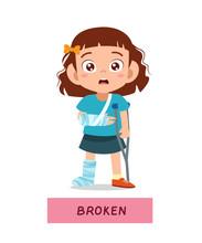 Kid Girl With Fracture Leg Vector