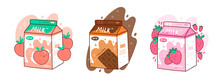 Set Of Three Cartons Of Milk. Three Various Tastes. Chocolate, Strawberry And Peach. Asian Product. Hand Drawn Colored Trendy Vector Illustration. Kawaii Anime Design. Cartoon Style