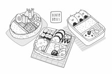 Hand Drawn Three Bento Boxes. ...