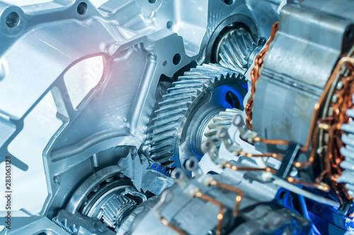 Canvastavla  electric system of eco car engine Automotive part concept