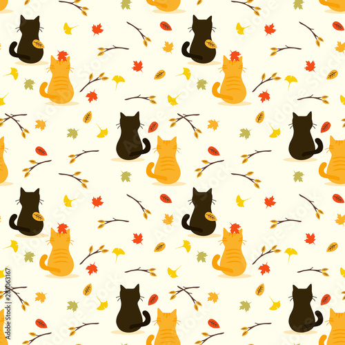 fototapeta na lodówkę Cute cat in autumn seamless pattern vector.