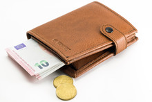 Euro Banknotes, Essential Wallet With White Background