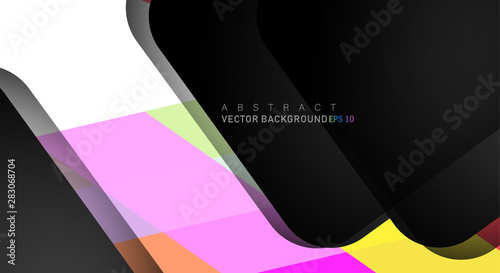 Fototapety, obrazy: geometric vector background overlap layer on black space for text and background design