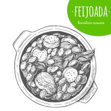 Feijoada Top View Vector Illustration. Brazilian Cuisine. Linear Graphic. -