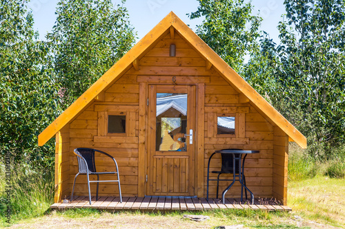 Small wooden holiday home in summer on Iceland