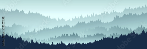 Foto auf AluDibond Licht blau forest landscape. Vector illustration. Layered trees background. Outdoor and hiking concept