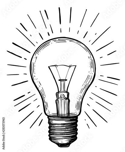 Fototapeta Vintage light bulb in sketch style.