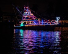 Boat At Night Christmas Light