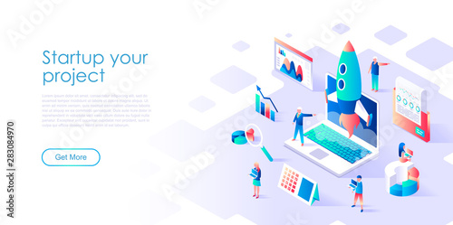 Modern flat design isometric concept of Startup Your Project for banner and website Canvas Print