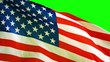 American flag waving in the wind with green screen at studio. Shot in 4k resolution
