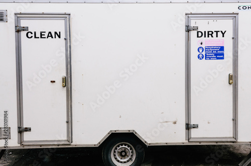 Asbestos clean-up: clean and dirty portable shower unit Canvas Print