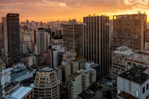 Wall Murals Toronto Sao Paulo city skyline sunset, Brazil.