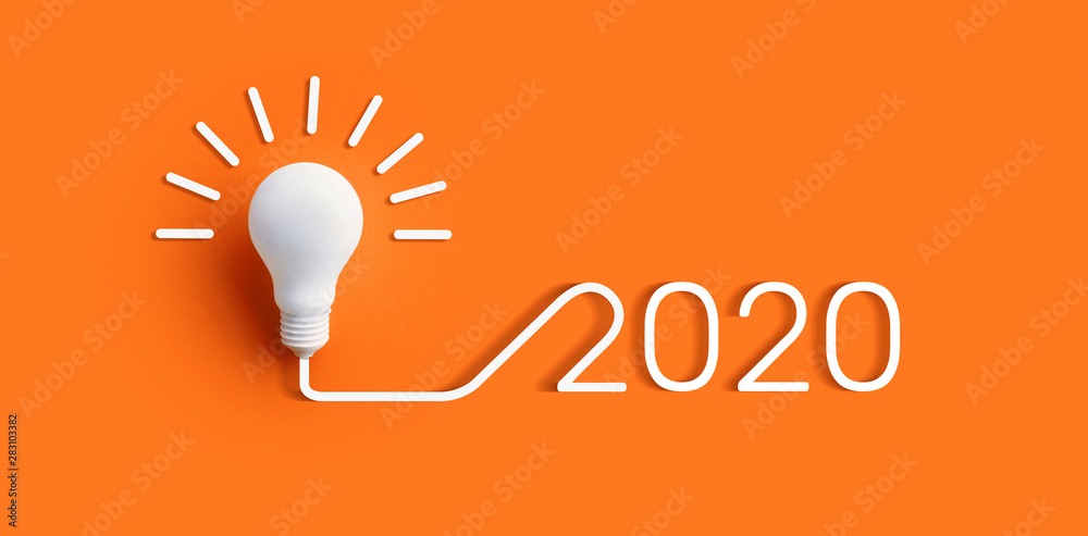 Fototapeta 2020 creativity inspiration concepts with lightbulb on color background.Business solution.