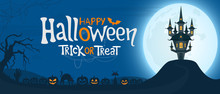 Halloween Night Background With Text. Spooky Castle Under The Moonlight And Scary Pumpkins. Vector Illustration.