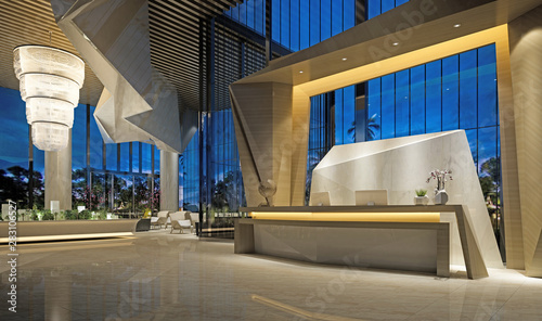 3d render of modern hotel reception lobby - 283106527