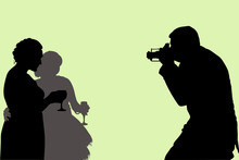 Vector Silhouettes Of Three People Waist-high. A Male Photographer Photographs Two Adult Women With Wine Glasses In Their Hands During The Holiday.