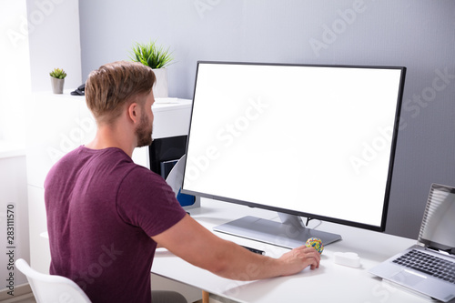 Fotomural  Businessman Working On Computer