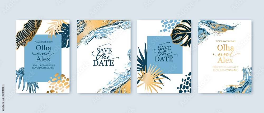 Fototapeta Set of elegant brochure, card, background, cover. Blue and golden marble texture. Geometric frame. Palm, exotic leaves. Save the date, invitation, birthday card design.