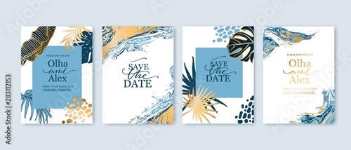 Fototapeta Set of elegant brochure, card, background, cover. Blue and golden marble texture. Geometric frame. Palm, exotic leaves. Save the date, invitation, birthday card design. obraz