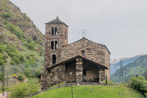 Sant Joan de Caselles church at cloudy day located in Canillo, Andorra Canvas Print